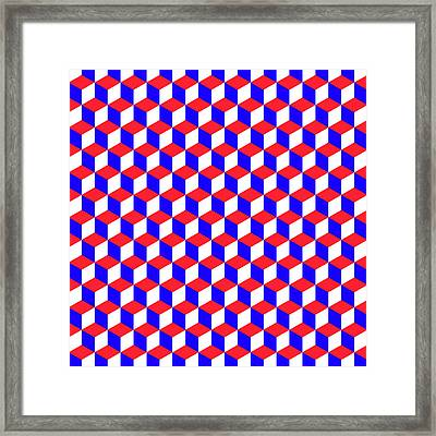 A Geometric Pattern With Cubes That Are The Colors Of The American Flag Framed Print