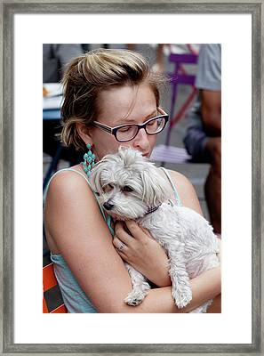 A Girl And Her Dog Framed Print