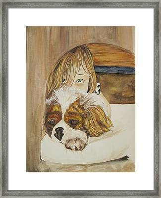 A Girl And Her Puppy Framed Print by Tabitha Marshall