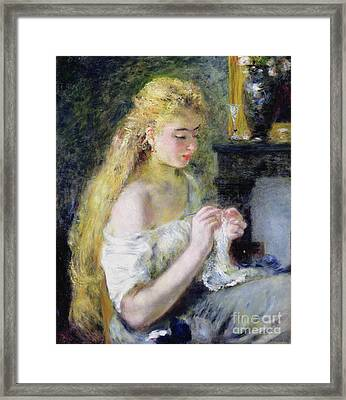 A Girl Crocheting Framed Print