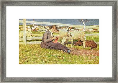 A Girl Knitting Framed Print by Giovanni Segantini