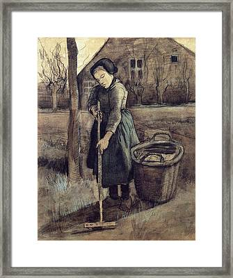 A Girl Raking, 1881 Framed Print by Vincent Van Gogh