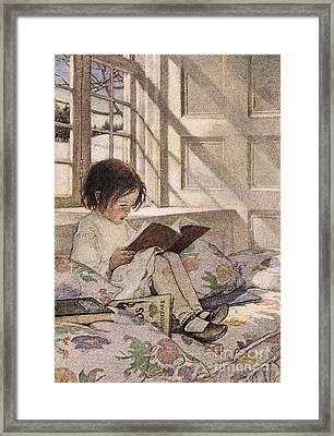 A Girl Reading Framed Print by Jessie Willcox Smith