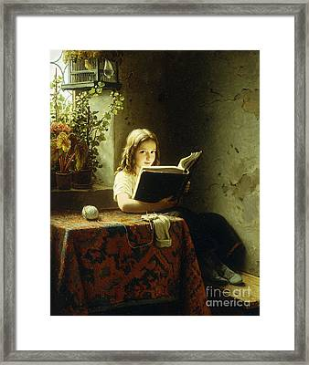 A Girl Reading Framed Print by Johann Georg Meyer