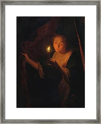 A Girl With A Candle Drawing Aside A Curtain Framed Print