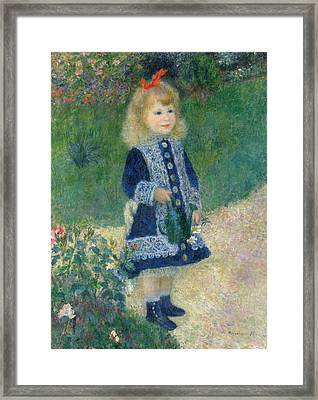 A Girl With A Watering Can 1876 Framed Print by Pierre Auguste Renoir