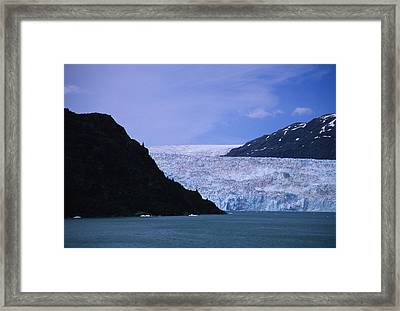 A Glacier Spills Into The Prince Framed Print by Stacy Gold