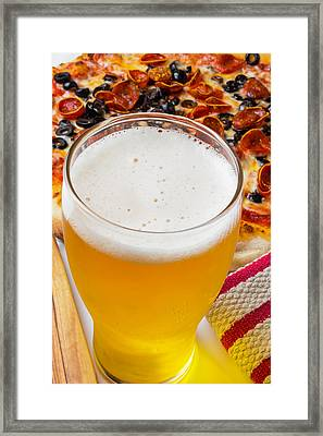 A Glass Of Beer And Pizza Framed Print by Garry Gay