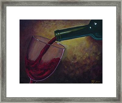 A Glass Of Red Wine. Wine Is Poured From A Bottle Into A Glass. Wine Bottle. Oil Paints. Framed Print by Elena Pavlova