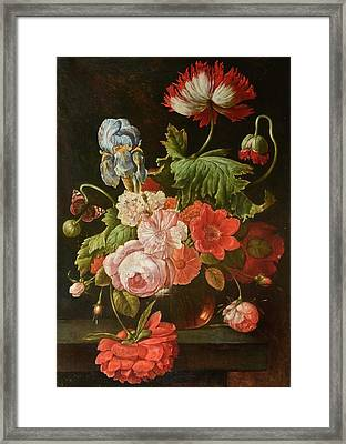 A Glass Vase Of Mixed Flowers And Butterfly Upon A Ledge Framed Print by MotionAge Designs