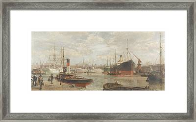 A Glimpse In 1920 Of The Royal Edward Dock, Avonmouth Framed Print by Arthur Wilde Parsons