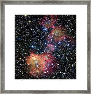 Framed Print featuring the photograph A Glowing Gas Cloud In The Large Magellanic Cloud by Eso