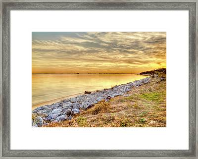 A Golden Choctawhatchee Bay Sunset In Florida  Framed Print by Kay Brewer