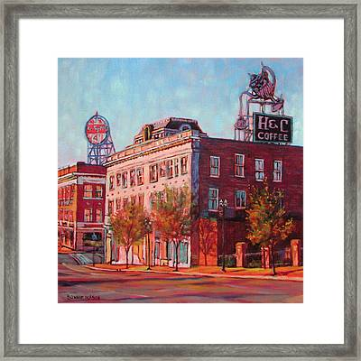 A Good Blend - H And C Coffee Sign And Dr. Pepper Sign In Roanoke Virginia Framed Print by Bonnie Mason
