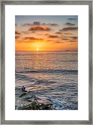 A Good Place To Watch A Sunset - La Jolla Sunset Photograph Framed Print by Duane Miller