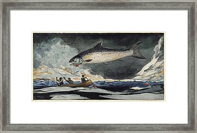 A Good Pool. Saguenay River Framed Print by Winslow Homer