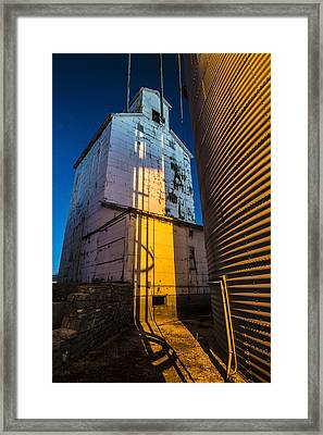 a grain elevator at dawn in Central Illinois  Framed Print by Sven Brogren