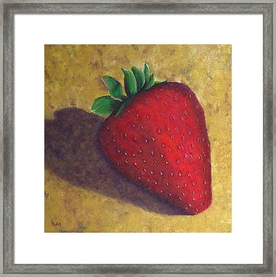 A Great Big Strawberry Framed Print by Helen Eaton