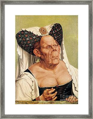A Grotesque Old Woman Framed Print by Quentin Massys