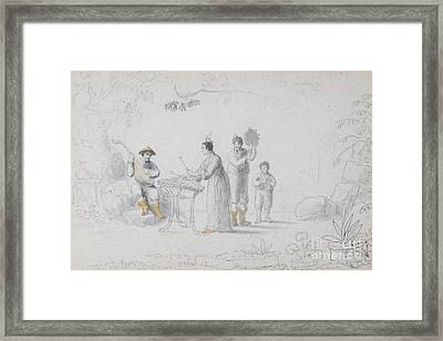 A Group Of Chinese Musicians Performing Beneath A Tree Framed Print by MotionAge Designs