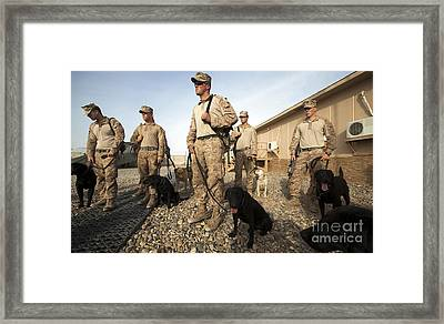 A Group Of Dog-handlers Conduct Framed Print