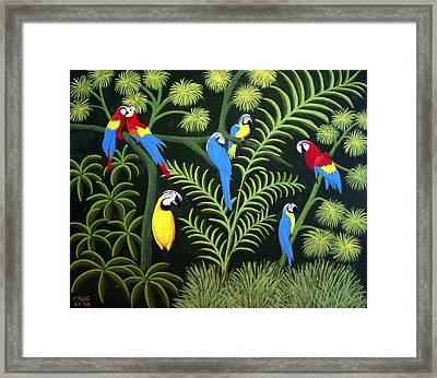 Framed Print featuring the painting A Group Of Macaws by Frederic Kohli