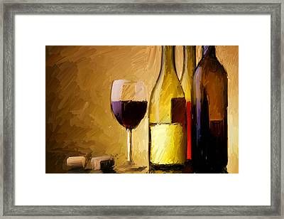 A Half Full Glass Of Wine Framed Print by Stu Thompson