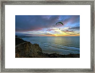 A Hang Glider And A Sunset Framed Print