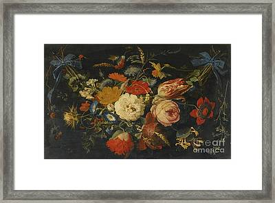 A Hanging Garland Of Flowers And Fruit Framed Print by Celestial Images