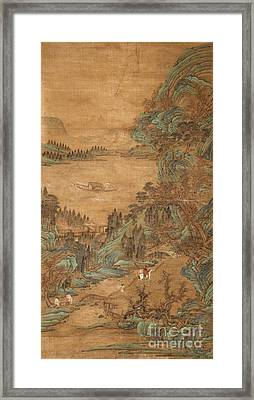 A Hanging Scroll In The Style Of Qiu Ying Framed Print
