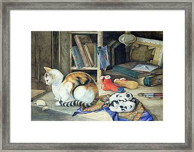 A Happy Family Framed Print by William A Donnelly