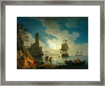 A Harbor In Moonlight Framed Print by Claude-Joseph Vernet