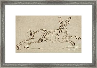A Hare Running, With Ears Pricked  Framed Print by James Seymour