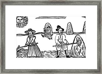 A Harvesting Scene Framed Print by English School
