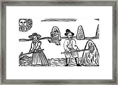 A Harvesting Scene Framed Print