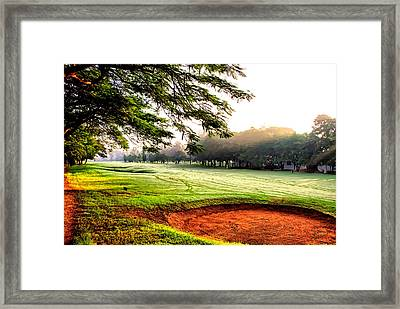 Framed Print featuring the photograph A Hazy Morning For Golf by Kathy Tarochione