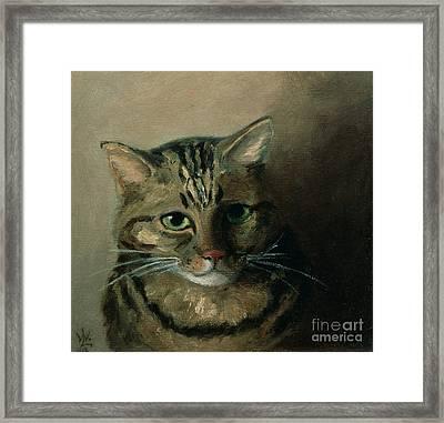 A Head Study Of A Tabby Cat Framed Print by Louis Wain