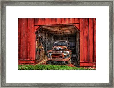A Hiding Place 1949 Ford Pickup Truck Framed Print by Reid Callaway