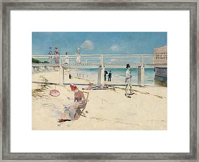 A Holiday At Mentone  Framed Print