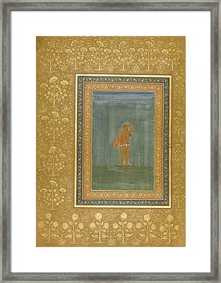 a Holy Man Standing and Scratching his Head Framed Print by Celestial Images