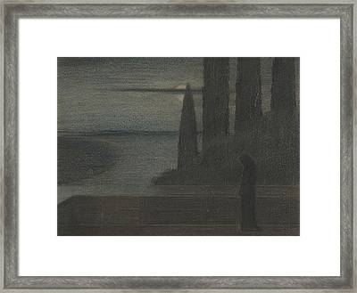 A Hooded Figure In A Landscape Framed Print