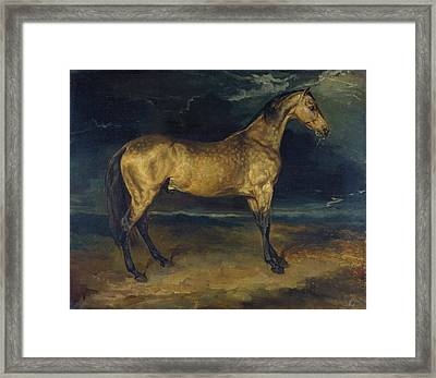 A Horse Frightened By Lightning Framed Print by Theodore Gericault