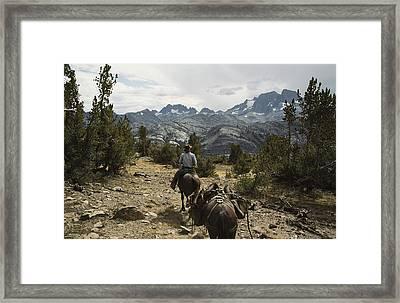 A Horse Packer In A High Mountain Framed Print by Gordon Wiltsie
