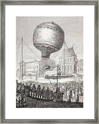 A Hot Air Balloon Ascends In Paris Framed Print by Vintage Design Pics