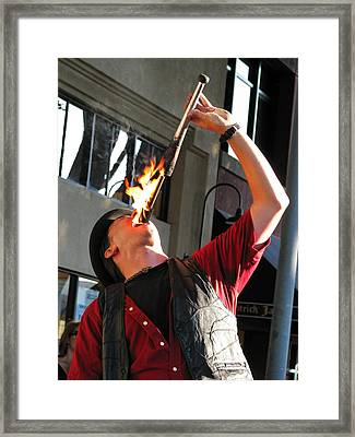 A Hot Meal -- Fire Eater In San Luis Obispo, California Framed Print by Darin Volpe