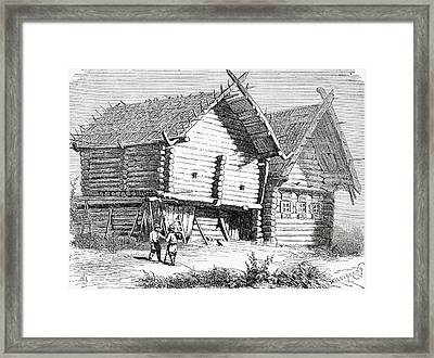 A House In Northern Russia In The 19th Framed Print