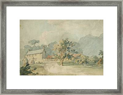 A House With Outbuildings In A Wooded Landscape Framed Print by Joseph Mallord