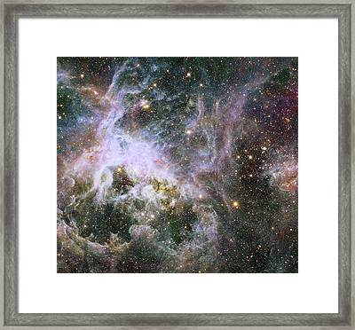 Framed Print featuring the photograph A Hubble Infrared View Of The Tarantula Nebula by Nasa