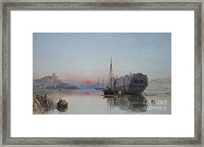 A Hulk Lying At Anchor In Cattewater Framed Print