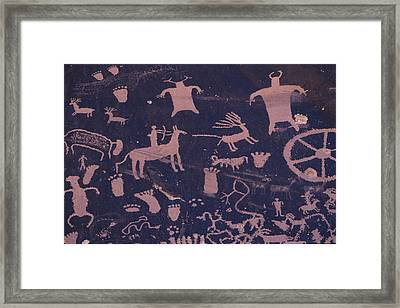 A Hunting Scene Is One Of Many Pecked Framed Print
